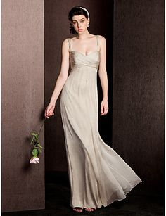 Sheath/Column Straps Floor-length Silk Bridesmaid Dress – USD $ 99.99