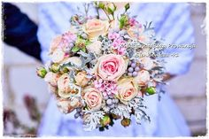 Róże jasno różowe, Bouvardia różowa, brunia szara i senecio :)