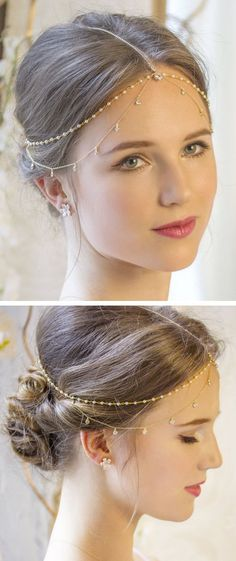 Hair Accessories Jewelry This one of a kind handmade bridal headpiece is a unique and luxurious item. The pearls create a gorgeous bohemian look while the contrasting gold delicate chain adds a subtle modern appeal. Indian Headpiece, Pearl Headpiece, Pearl Hair, Headpiece Jewelry, Bun Hairstyles, Trendy Hairstyles, Wedding Hairstyles, Bridal Headpieces, Bridal Hair