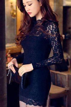 "Cutout Black Bodycon Dress - Long Sleeves Lace Dress, kindab dress hubby likes me to wear on ""date nite""-rare occasion Estilo Fashion, Look Fashion, Ideias Fashion, Fashion Design, Look Disco, Pretty Dresses, Beautiful Dresses, Mini Vestidos, Black Bodycon Dress"