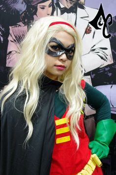 """Robin (Stephanie Brown) by Julie Doll. Wearing """"Excitement"""" leather mask by Ravenwood Masks Stephanie Brown Robin, Robin Outfit, Comic Book Costumes, Robin Cosplay, Comic Book Superheroes, Disney Day, Leather Mask, Halloween Costumes, Halloween Decorations"""