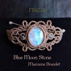 ブルームーンストーンマクラメブレスレット - 天然石とマクラメアクセサリーのお店 nica