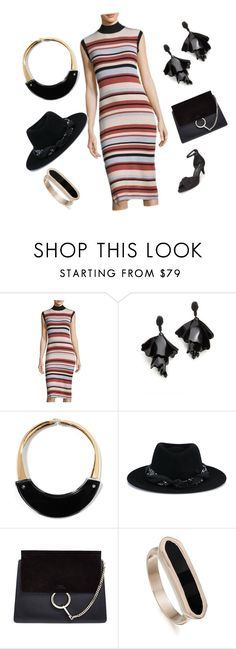 """""""Chic black"""" by racheal-taylor ❤ liked on Polyvore featuring MINKPINK, Oscar de la Renta, Marni, Maison Michel, Chloé, Monica Vinader and Alice + Olivia"""