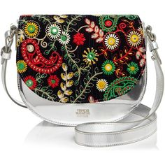 Frances Valentine Floral Embroidery Mini Saddle Bag ($550) ❤ liked on Polyvore featuring bags, handbags, shoulder bags, mini purse, metallic purse, miniature purse, mini handbags and saddle bags