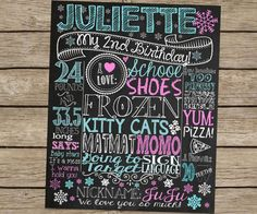 Winter ONEderland Themed chalkboard birthday sign! Customized first birthday chalkboard sign or poster for childs birthday party and/or