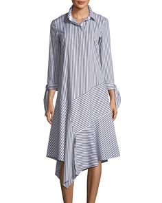 Lafayette 148 New York Leighton Striped Asymmetric-Hem Dress Leighton Striped Asymmetric-Hem Dress Striped Linen, Striped Dress, Linen Dresses, Cotton Dresses, Mode Abaya, Lafayette 148, The Dress, Dress Patterns, Designer Dresses