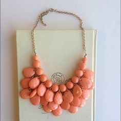 Coral statement necklace Coral teardrop necklace Hwl boutique Jewelry Necklaces