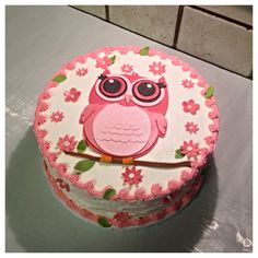 Pink owl baby shower layer cake :)