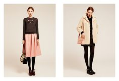 Left: Orla Kiely skirt styled with cute platforms.