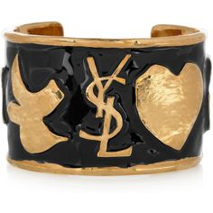 0a96d66470e Yves Saint Laurent Ycons enameled gold-plated cuff found on Polyvore Saint  Laurent Rive Gauche