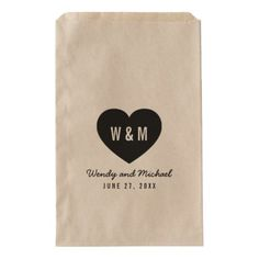 #rustic - #Bold Stylish Monogram Heart Rustic Wedding Favor Bag