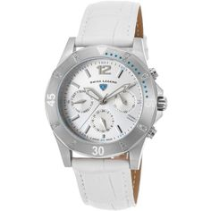 Swiss Legend Paradiso Diamonds Multi-Function White Leather... ($180) ❤ liked on Polyvore featuring jewelry, watches, white, logo watches, diamond jewelry, bezel watches, white wrist watch and diamond dial watches