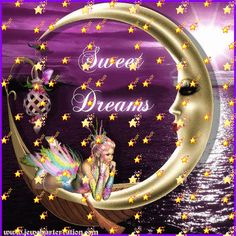 Rainbow Fairy sitting on the moon - Sweet Dreams greeting.  With stars falling all around