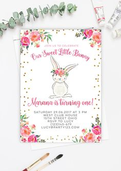 Our Sweet Little Bunny first birthday invitation pink gold