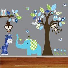 Boy Nursery Wall Decals | Boy Nursery wall decal jungle decals baby nursery by wallartdesign, $ ...