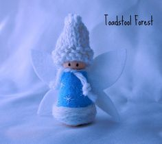 Custom order for Anne  Snow Fairy Peg Doll  by TheToadstoolForest