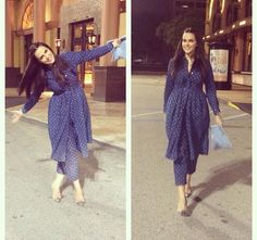 Neha Dhupia # casual night out look # same to same match # Indian fashion Dress Indian Style, Indian Dresses, Indian Outfits, Indian Attire, Indian Wear, Kurta Designs, Blouse Designs, Dress Designs, Modest Fashion