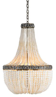 Currey & Company's decadent glass bead chandelier is a neutral-hued stunner designed by Marjorie Skouras.
