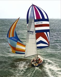 Flying the drifter and spinnaker