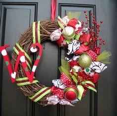 Whimsical Holiday Christmas wreath