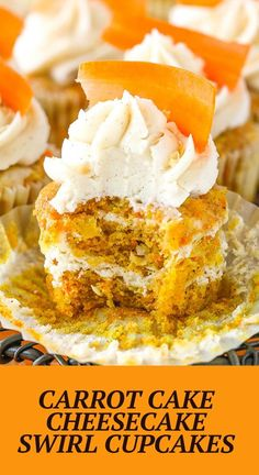 These Carrot Cake Cheesecake Swirl Cupcakes are made with moist carrot cake & cinnamon cheesecake layered together in one tasty cupcake! They are topped with cinnamon cream cheese frosting for a fun and delicious treat! Cinnamon Cheesecake, Carrot Cake Cheesecake, Cheesecake Recipes, Cupcake Recipes, Dessert Recipes, Cup Cakes, Cupcake Cakes, Yummy Treats, Delicious Desserts