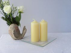 Pure beeswax pillar candles all natural by CandlesbyDeganit