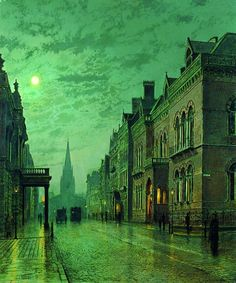 "Park Row, Leeds by John Atkinson Grimshaw=John Atkinson Grimshaw was a Victorian-era artist, a ""remarkable and imaginative painter"" known for his city night-scenes and landscapes. Born: September 6, 1836, Leeds, United Kingdom Died: October 13, 1893"