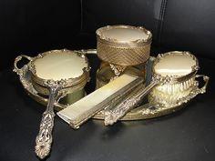 Vintage Victorian Vanity Set gold ormolu filigree matson stylebuilt mirror brush | eBay