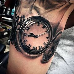 3D Pocket Watch Tattoo For Males On Arms