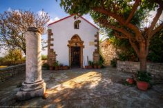 Little White Chapel and Column, Lappa, Crete, Greece