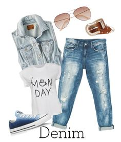 """""""denim duo"""" by suzannekobb on Polyvore featuring American Eagle Outfitters, Sans Souci, Ally Fashion, Converse, H&M and Denimondenim"""