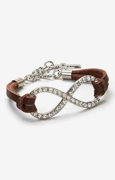 I Love Accessories Brown & Silver Rhinestone Leather Infinity Bracelet