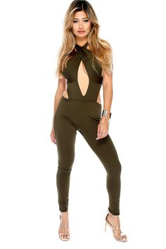 Look sexy in this jumpsuit for a girls night out! Features a criss cross, front cutout, detailed cutouts, high polish back zipper closure, sleeveless, followed by a fitted wear. 100% Polyester
