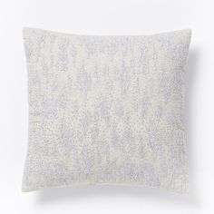 Embroidered Shimmer Pillow Cover - Stone White/Silver