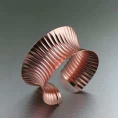 Handmade Corrugated Anticlastic Copper Bangle Bracelet - Makes a Great 7th Anniversary Gift from John S Brana Handmade Jewelry