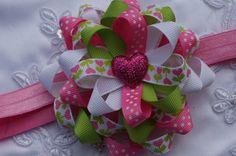 Arco del pelo de San Valentín loopy flor pelo arco por AmazinGems