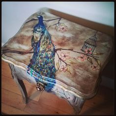 Peacock side table by vintagecowgirlco on Etsy, $200.00