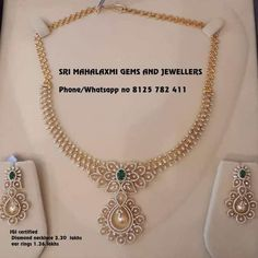Diamond Necklace New designs of Diamonds jewellery added for Sravanam. Presenting here is a very light range Diamond necklace plus ear rings. Call on 8125 782 411 for orders. Real Gold Jewelry, Gold Jewelry Simple, Diamond Jewelry, Gold Jewellery, Bridal Jewelry, Indian Jewelry, Tiffany Jewellery, Jewelry Necklaces, Pakistani Jewelry