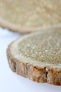SILVER not gold :) 6 Gold Glitter Tree Stump Slice for Vintage and Rustic Celebrations by DAPPSY