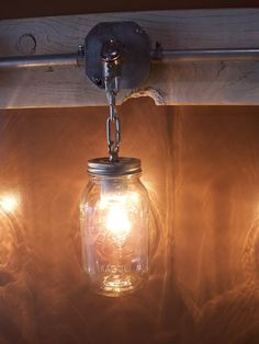 awesome Mason Jar light with reclaimed wood (ebay)