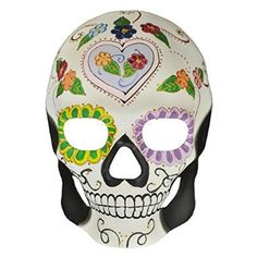 On sale Day of the Dead Masquerade Mask - Dia De Los Muertos White w/ Heart and Flower Leaf Halloween Mask for  Halloween Gifts Idea Stores for  #Halloween Gifts Idea Online