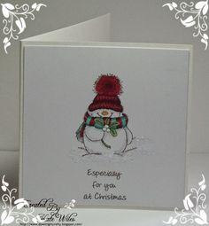CAS Little Snowman Christmas Card Downrightcrafty