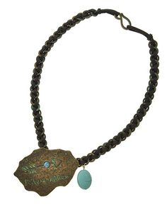 Patina Metal / Turquoise Stone / Brown Leatherette / Lead&nickel Compliant / Follow Arrow Pendant / Necklace