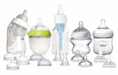First Foods Baby Bottle & Nipple Starter Variety Pack: If you want to try more than one bottle...Each pack comes with 1 Playtex Drop-in Nurser (4 oz) with 4 slowflow nipples (breastlike, angled, full-sized, and naturalatch); 1 Comotomo (5 oz) bottle with 3 nipples (slow, medium, fast); 1 Dr. Brown's Glass bottle with 3 Nipples (preemie, slow, medium); 1 Tommee Tippee 5 oz bottle with 3 Nipples (slow, medium, fast); and 1 Avent Natural (4 oz) bottle with 3 Nipples (newborn, slow, medium).