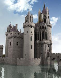 Render do Château Mehun-sur-Yèvre, mandado construir por Jean de Berry, um dos mais altos nobres franceses do séc. XV / ele foi destruído pelas guerras religiosas e pela Revolução Francesa