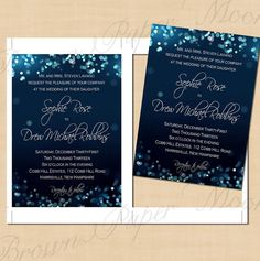 Night Sky Printable Wedding Invitations 5 x 7  by BrownPaperMoon, $14.00