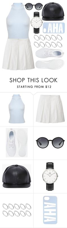 """""""Untitled #311"""" by vintagecoutures ❤ liked on Polyvore featuring Miss Selfridge, Uniqlo, NIKE, Ray-Ban, Daniel Wellington and ASOS"""