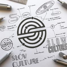 SLOW CULTURE by James Martin Corporate Design, Branding Design, Creative Logo, Creative Design, Ideas Para Logos, Logo Sketches, Logo Process, Bussiness Card, James Martin