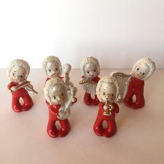 Set of 6 vintage ceramic Christmas pixie elf musicians Japan | Etsy