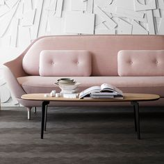 Join is a new coffee table series designed by Republic of Fritz Hansen. It comes in three different shapes, and despite its subtle and understated expression it has the ability to become the centre of life in a room. Republic of Fritz Hansen has long w Interior Flat, Room Interior, Rosa Sofa, Decoracion Vintage Chic, Pink Sofa, Blush Sofa, Chic Living Room, Living Rooms, Fritz Hansen
